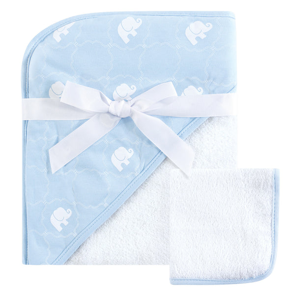 Hudson Baby Cotton Hooded Towel and Washcloth, Blue Elephant