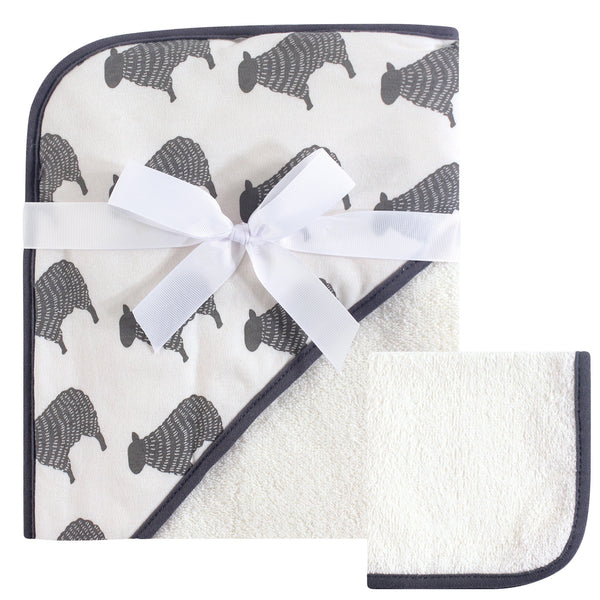 Hudson Baby Cotton Hooded Towel and Washcloth, Cream Sheep