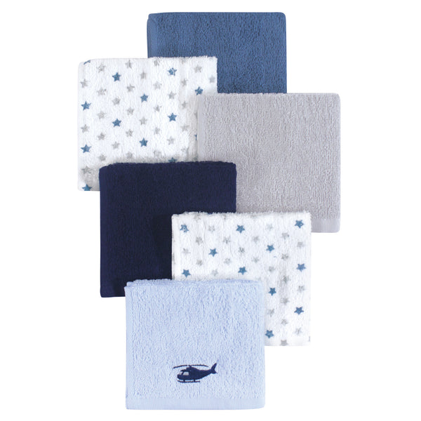 Hudson Baby Super Soft Cotton Washcloths, Helicopter