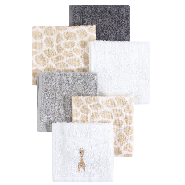 Hudson Baby Super Soft Cotton Washcloths, Giraffe