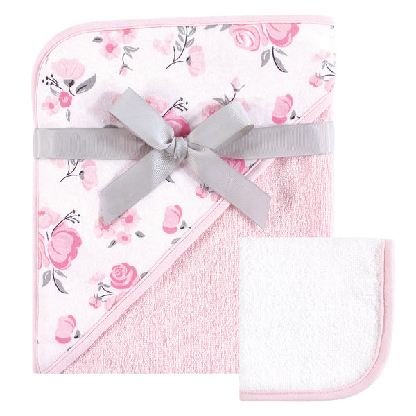 Hudson Baby Cotton Hooded Towel and Washcloth, Pink Floral