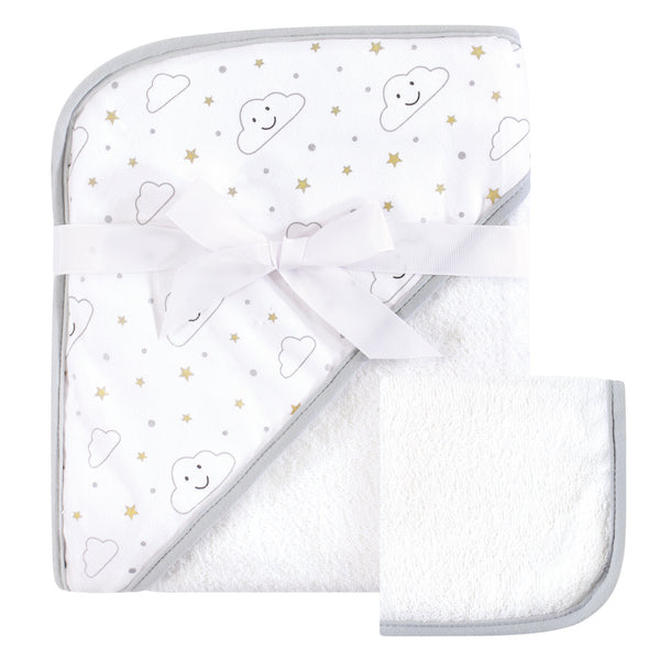 Hudson Baby Cotton Hooded Towel and Washcloth, Gray Clouds