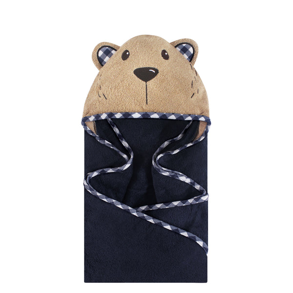 Hudson Baby Cotton Animal Face Hooded Towel, Plaid Bear