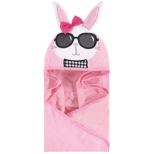 Hudson Baby Cotton Animal Face Hooded Towel, Chic Bunny