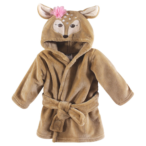 Hudson Baby Plush Animal Face Bathrobe, Fawn
