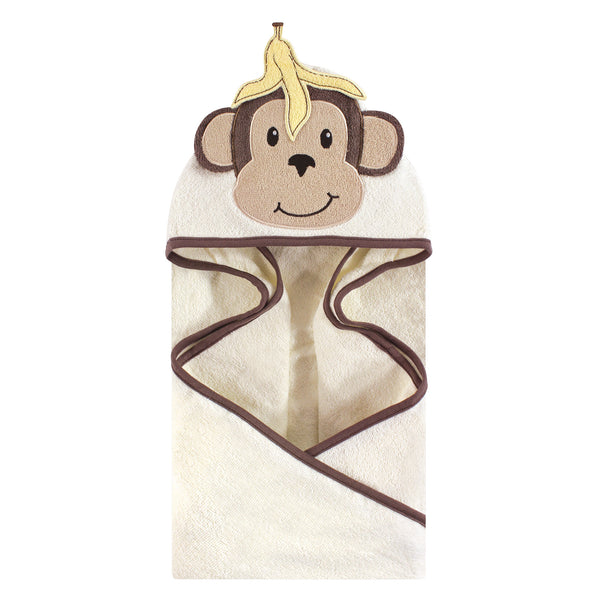 Hudson Baby Cotton Animal Face Hooded Towel, Banana Monkey
