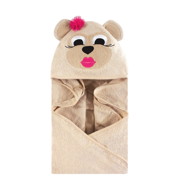 Hudson Baby Cotton Animal Face Hooded Towel, Miss Monkey