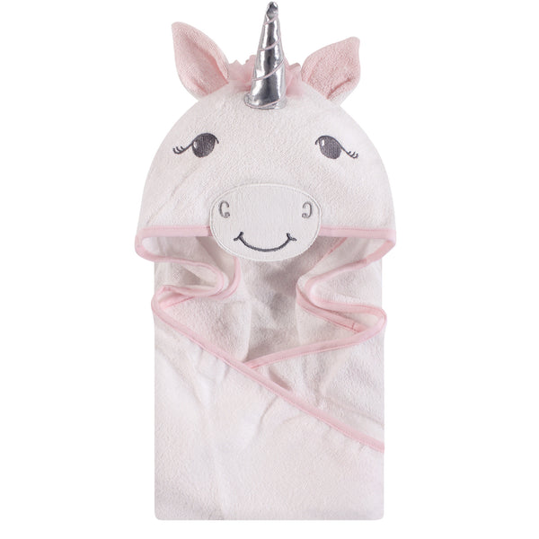 Hudson Baby Cotton Animal Face Hooded Towel, White Unicorn