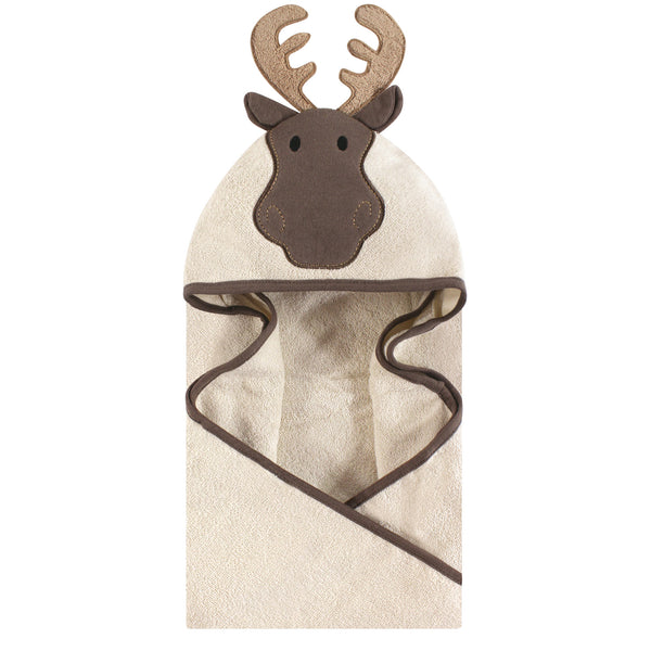 Hudson Baby Cotton Animal Face Hooded Towel, Modern Moose
