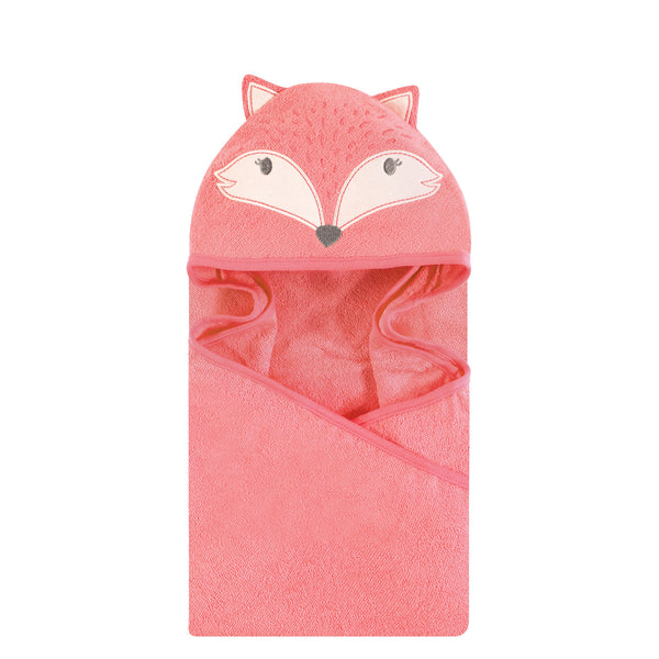 Hudson Baby Cotton Animal Face Hooded Towel, Miss Fox