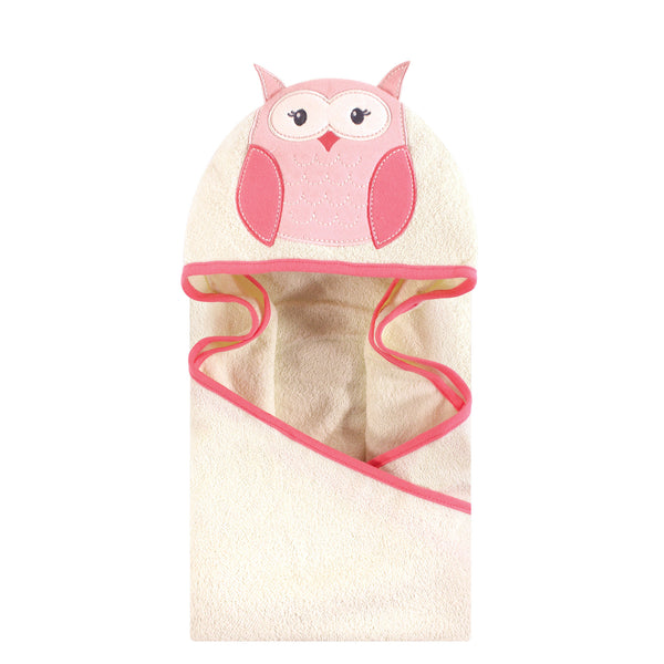 Hudson Baby Cotton Animal Face Hooded Towel, Modern Owl