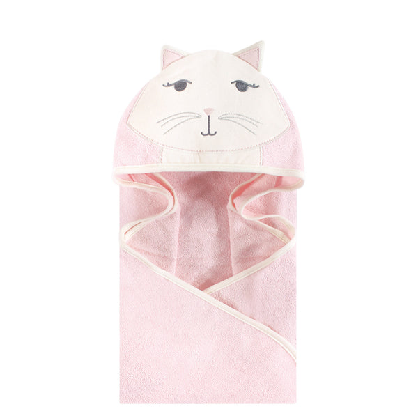 Hudson Baby Cotton Animal Face Hooded Towel, Kitty