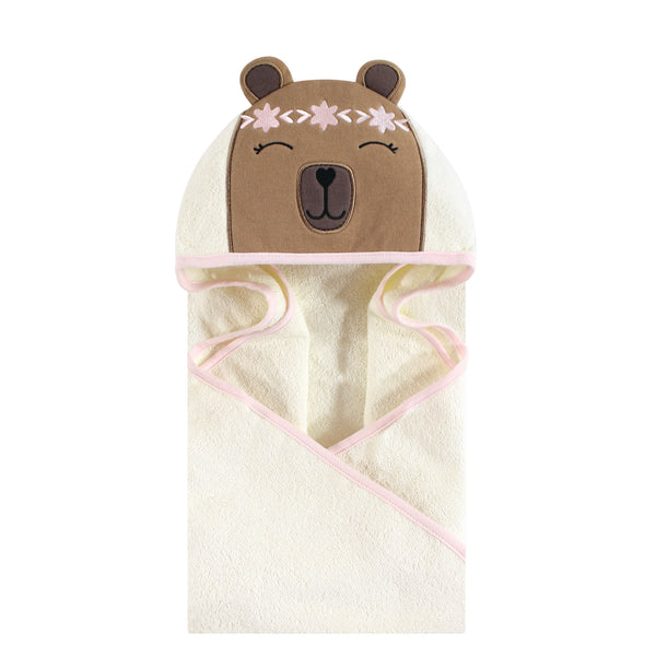 Hudson Baby Cotton Animal Face Hooded Towel, Boho Bear