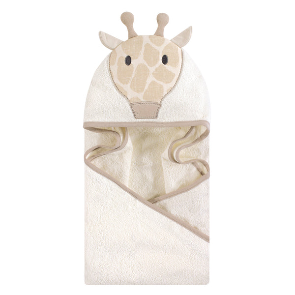 Hudson Baby Cotton Animal Face Hooded Towel, Modern Giraffe