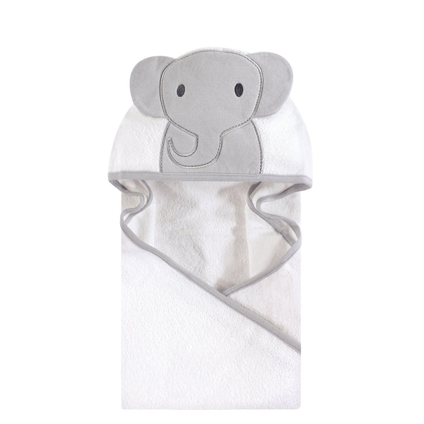 Hudson Baby Cotton Animal Face Hooded Towel, Modern Elephant