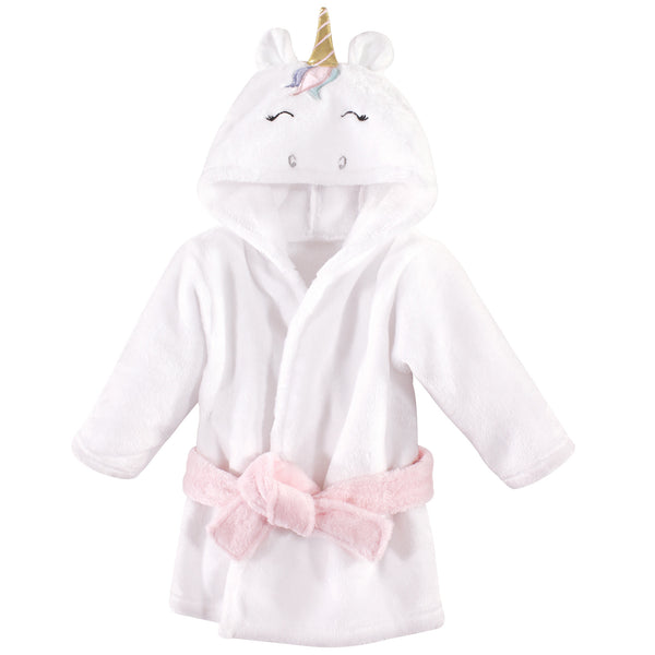 Hudson Baby Plush Animal Face Bathrobe, Multicolor Unicorn