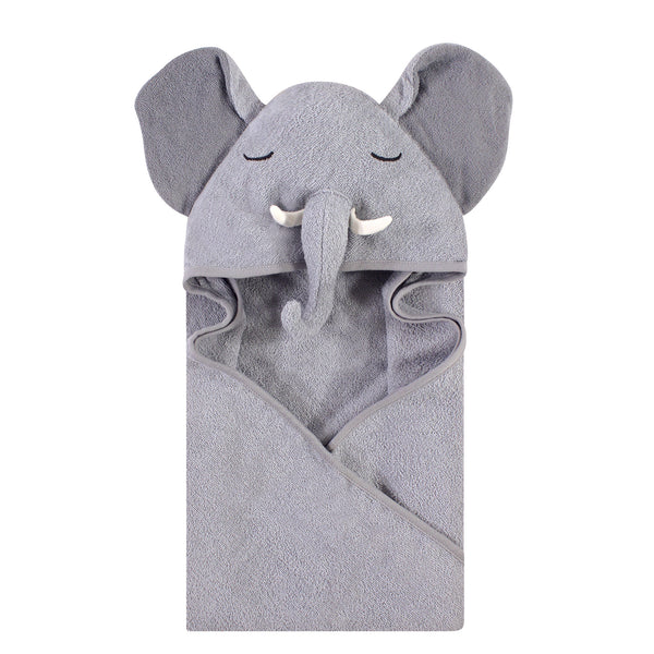 Hudson Baby Cotton Animal Face Hooded Towel, Tusks Elephant