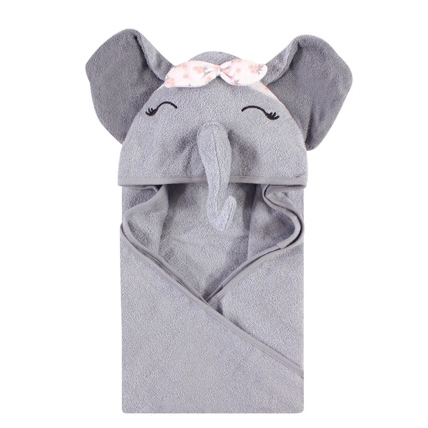Hudson Baby Cotton Animal Face Hooded Towel, Flower Elephant