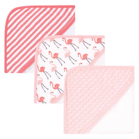 Hudson Baby Cotton Rich Hooded Towels, Coral Flamingo