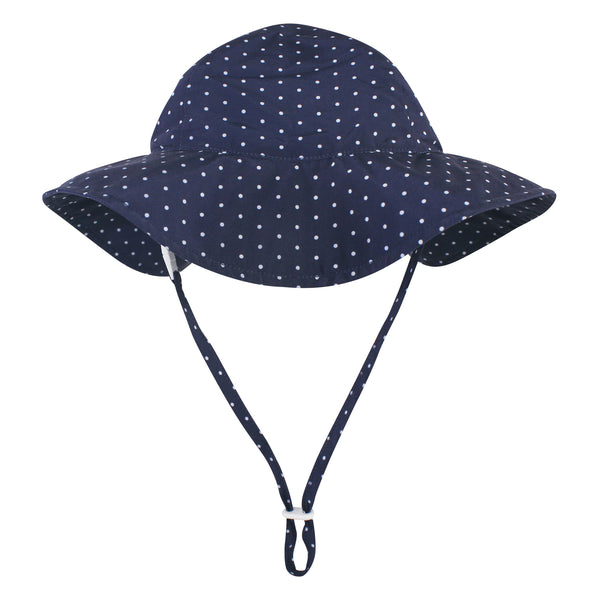 Hudson Baby Sun Protection Hat, Navy Blue Dot, 0-6 Months