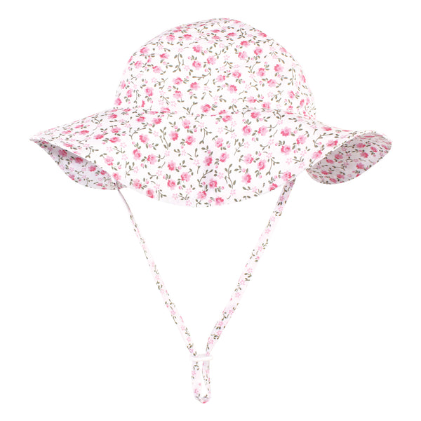 Hudson Baby Sun Protection Hat, Pink Green Peony, 0-6 Months