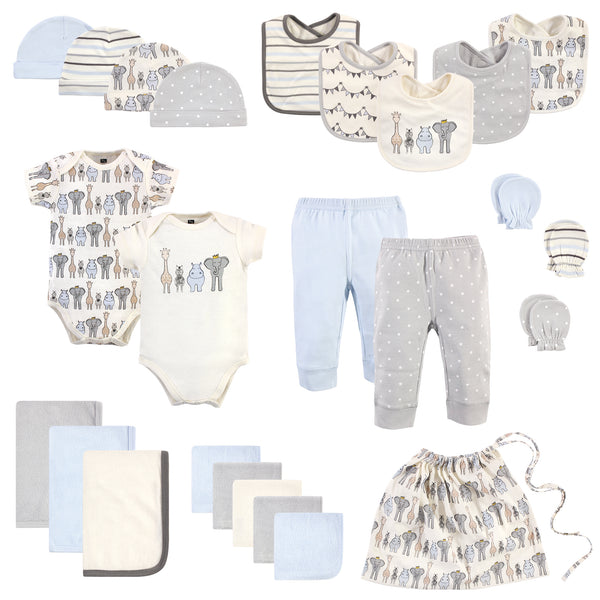 Hudson Baby Layette Start Set Baby Shower Gift 25pc, Royal Safari, 0-6 Months