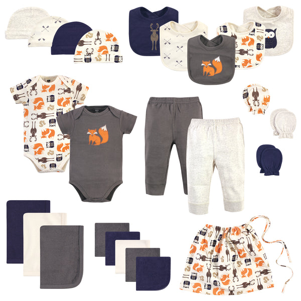 Hudson Baby Layette Start Set Baby Shower Gift 25pc, Forest, 0-6 Months