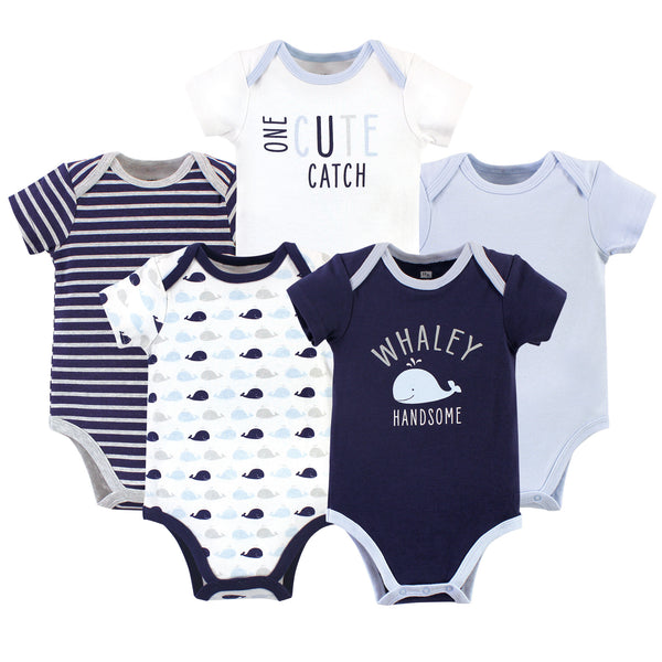 Hudson Baby Cotton Bodysuits, Whaley Handsome