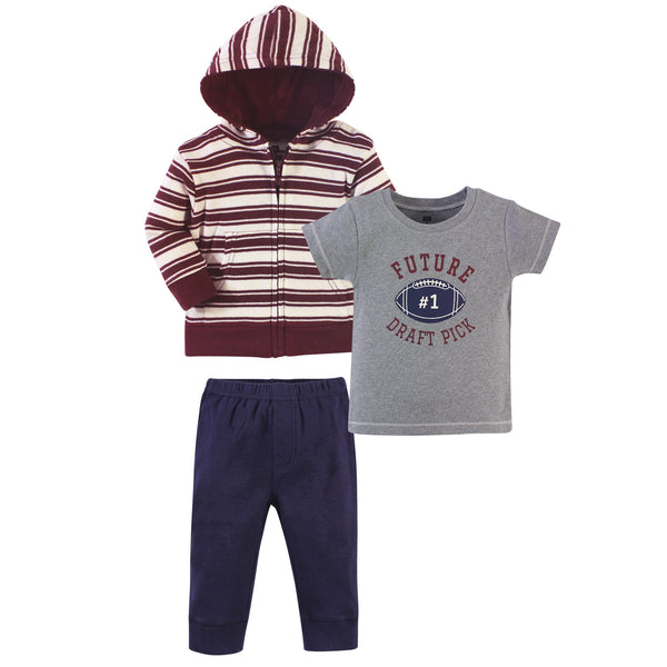 Hudson Baby Cotton Hoodie, Bodysuit or Tee Top and Pant Set, One Draft Pick Toddler