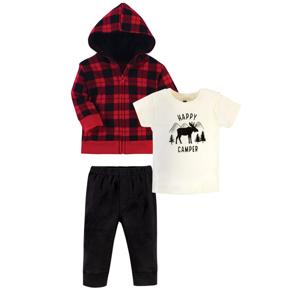 Hudson Baby Cotton Hoodie, Bodysuit or Tee Top and Pant Set, Plaid Moose Toddler