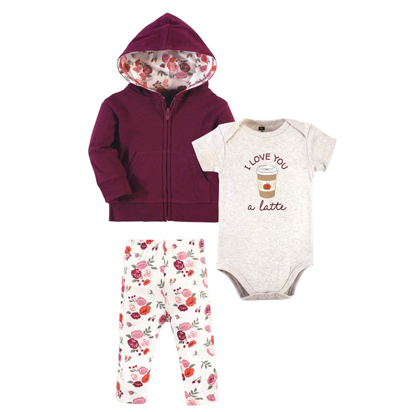 Hudson Baby Cotton Hoodie, Bodysuit or Tee Top and Pant Set, Fall Floral Baby