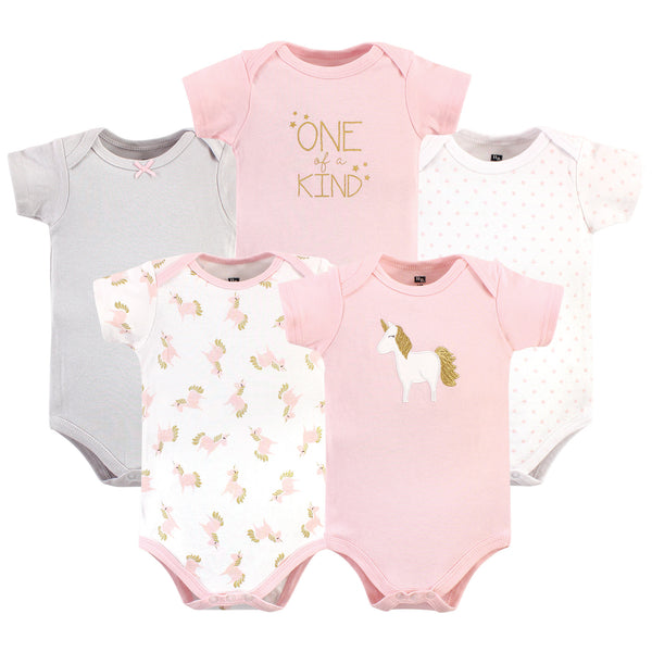 Hudson Baby Cotton Bodysuits, Gold Pink Unicorn