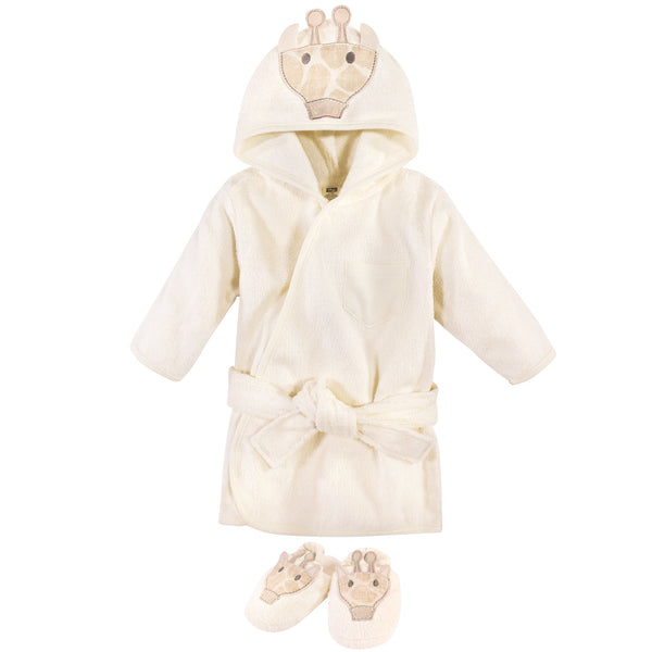 Hudson Baby Cotton Animal Face Bathrobe, Modern Giraffe