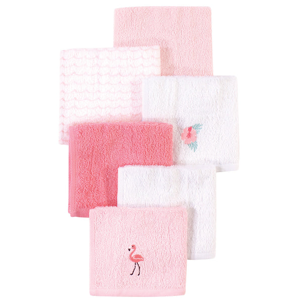 Hudson Baby Super Soft Cotton Washcloths, Flamingo