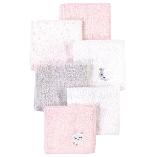 Hudson Baby Super Soft Cotton Washcloths, Pink Cloud
