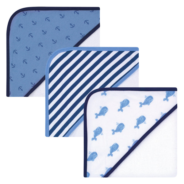 Hudson Baby Rayon from Bamboo Rich Hooded Towels, Blue Whale