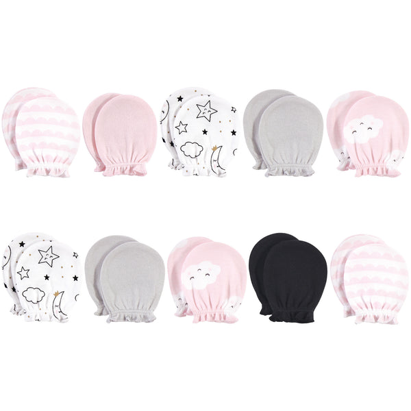 Hudson Baby Cotton Scratch Mittens, Pink Clouds