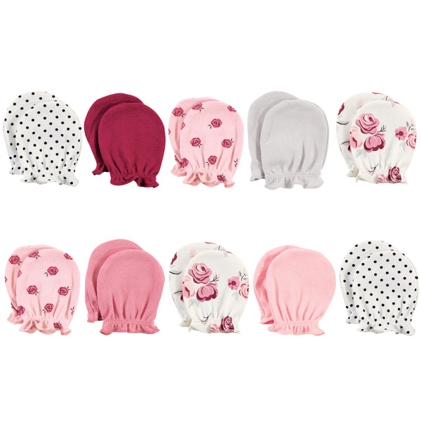 Hudson Baby Cotton Scratch Mittens, Rose, 0-6 Months