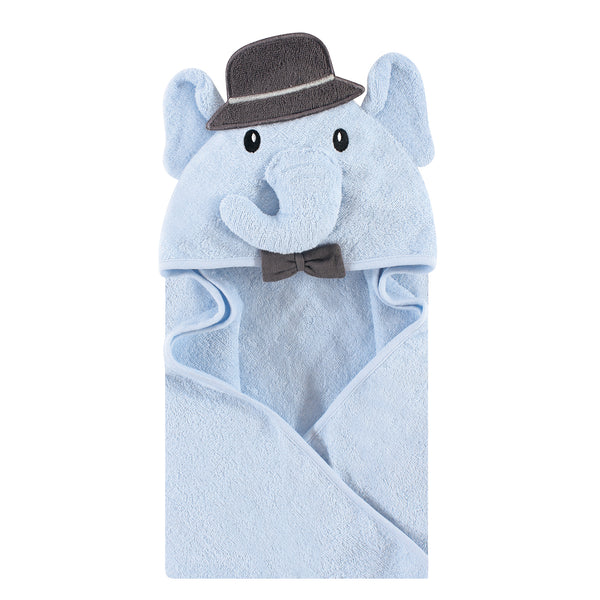 Hudson Baby Cotton Animal Face Hooded Towel, Blue Charcoal Elephant, One Size