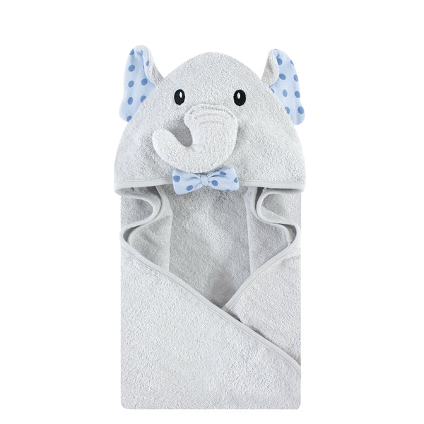 Hudson Baby Cotton Animal Face Hooded Towel, Blue Dots Gray Elephant, One Size