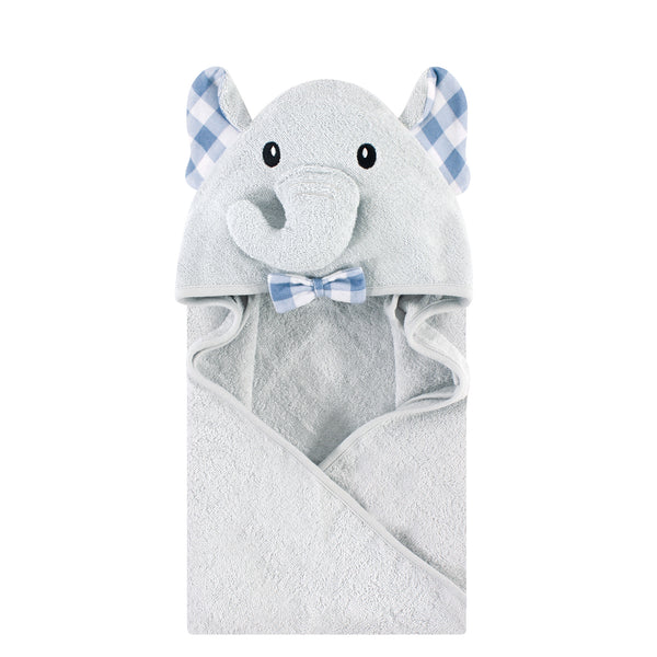 Hudson Baby Cotton Animal Face Hooded Towel, Gingham Elephant, One Size