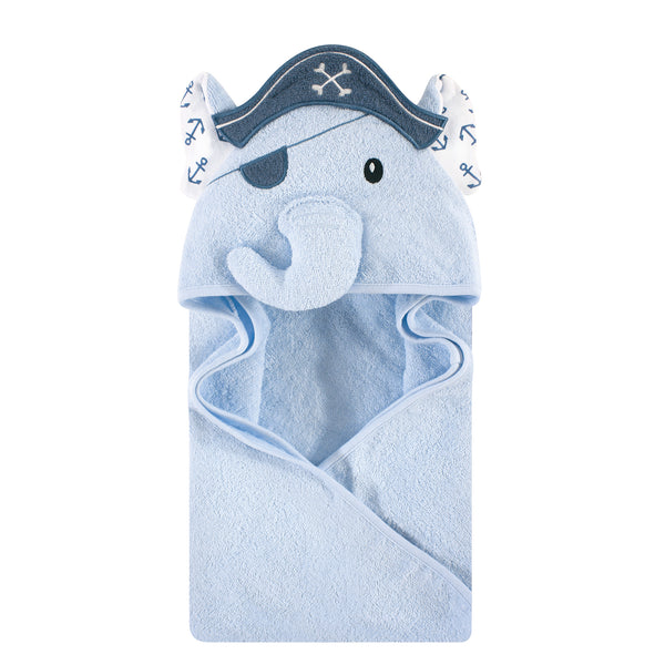 Hudson Baby Cotton Animal Face Hooded Towel, Pirate Elephant, One Size