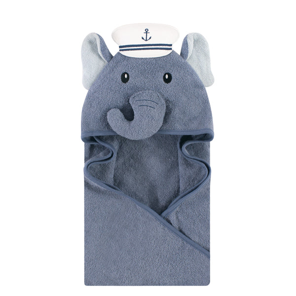 Hudson Baby Cotton Animal Face Hooded Towel, Sailor Elephant, One Size