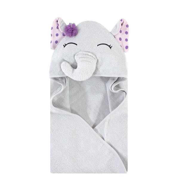 Hudson Baby Cotton Animal Face Hooded Towel, Purple Dots Pretty Elephant, One Size