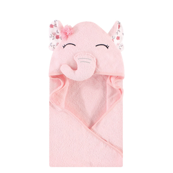 Hudson Baby Cotton Animal Face Hooded Towel, Floral Pretty Elephant, One Size