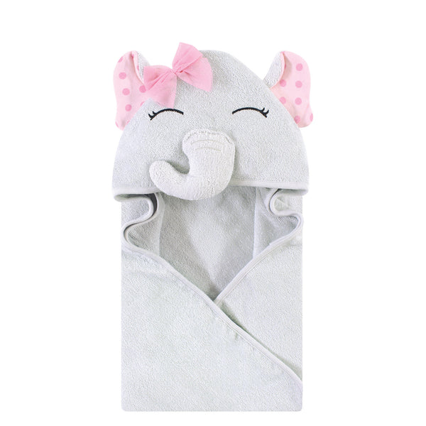 Hudson Baby Cotton Animal Face Hooded Towel, Pink Dots Pretty Elephant