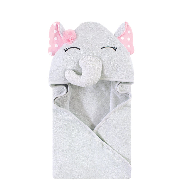 Hudson Baby Cotton Animal Face Hooded Towel, White Dots Pretty Elephant