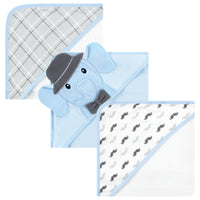 Hudson Baby Cotton Rich Hooded Towels, Blue Charcoal Elephant