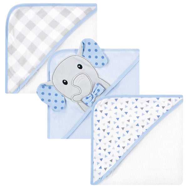 Hudson Baby Cotton Rich Hooded Towels, Blue Dots Gray Elephant, One Size