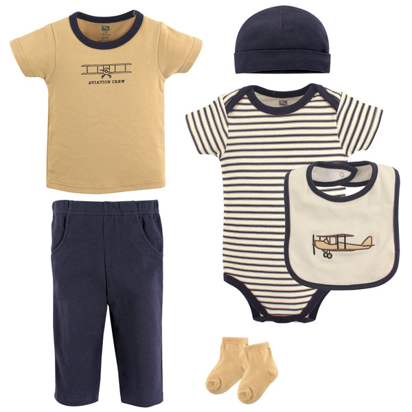 Hudson Baby Cotton Layette Set, Navy And Tan 6-Piece
